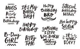 Happy Birthday Handdrawn Lettering Set Royalty Free Stock Image