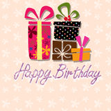 Happy birthday, handwriting lettering Patterned background Royalty Free Stock Photography