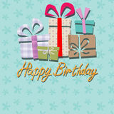 Happy birthday, handwriting lettering Patterned background Stock Images