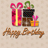 Happy birthday, handwriting lettering Patterned background Royalty Free Stock Images