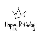 Happy birthday handwritten inscription for greeting card, invitation, poster. Vector. Happy Birthday Hand Lettering Greeting Card. Vector Illustration Stock Image