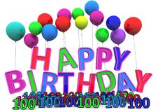 Happy Birthday. At ballons with numbers royalty free illustration