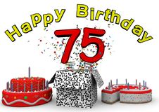 Happy Birthday. With cake and number as jack in the box Royalty Free Stock Image