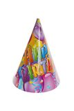 Happy Birthday Hat. Isolated Happy Birthday Hat on white background royalty free stock photography