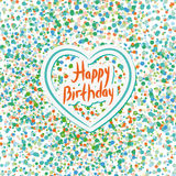 Happy birthday. Heart. Colored confetti on a white background. B Stock Photo