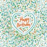 Happy birthday. Heart. Colored confetti on a white background. B. Lue, pink, orange Stock Photo