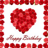 Happy Birthday with a heart of roses Stock Image