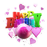 Happy Birthday hearts. 3D rendering of a Happy Birthday greeting message with hearts Royalty Free Stock Images