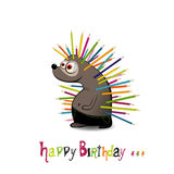 Happy Birthday Hedgehog with pencils Royalty Free Stock Photos