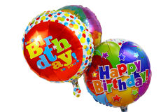 Happy Birthday Helium Balloons (Large File). Three helium happy birthday balloons Stock Image