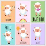 Happy birthday, hello cards with cute sheep. Happy birthday, love you and hello cards with cute cartoon baby sheep. Vector illustration royalty free illustration