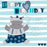 Happy birthday hippo vector illustration Royalty Free Stock Image