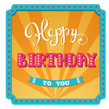 Happy Birthday. Holiday card for the day birthday party. Hand lettering. Circus background in a retro frame with lights Stock Photo