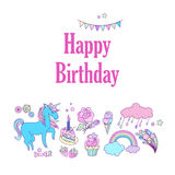 Happy birthday holiday card with flags, stars, rainbow, ice-cream, unicorn, cloud and fireworks. Hand-drawn elements rainbow, ice-cream, unicorn, cloud, cake Royalty Free Stock Photography