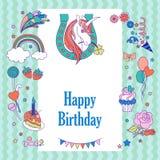 Happy birthday holiday card with rainbow, ice-cream, unicorn with horseshoe, cloud and fireworks Stock Image