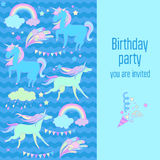 Happy birthday holiday card with rainbow, unicorn, cloud and fireworks on blue background. Hand-drawn elements rainbow, unicorn, cloud, stars, flag for patches Stock Image