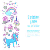 Happy birthday holiday card with stars, sweets, flags, rainbow, ice-cream, unicorn, cloud and fireworks. Hand-drawn elements rainbow, ice-cream, unicorn, cloud royalty free illustration
