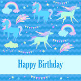 Happy birthday holiday card with unicorn, flags, cloud, fireworks, stars and rainbow on blue background. Hand-drawn elements unicorn, flags, cloud, fireworks and Royalty Free Stock Photo