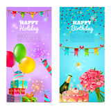 Happy birthday holiday celebrration banners set. Happy birthday holiday party celebration 2 vertical festive banners set with  cake and  champagne abstract Royalty Free Stock Image