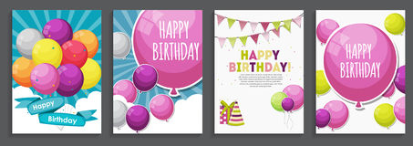 Happy Birthday, Holiday  Greeting and Invitation Card Template S. Et with Balloons and Flags. Vector Illustration EPS10 Royalty Free Stock Photography