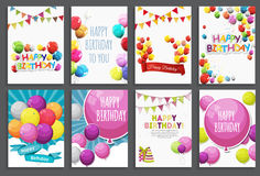 Happy Birthday, Holiday Greeting and Invitation Card Template Set with Balloons and Flags. Vector Illustration