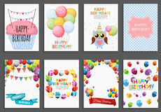 Happy Birthday, Holiday  Greeting and Invitation Card Template Set with Balloons and Flags. Vector Illustration Stock Photo