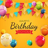 Happy Birthday Holiday Party Background with Flags and Balloons. Vector Illustration