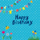 Happy birthday or holidays greeting card. For kids with cute design,  graphic illustration Royalty Free Stock Image