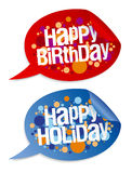 Happy birthday and holidays stickers. Stock Photo
