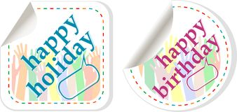 Happy birthday and holidays stickers set Royalty Free Stock Image