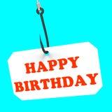 Happy Birthday On Hook Shows Birth Celebration Stock Photography