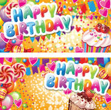 Happy birthday horizontal cards Stock Photography