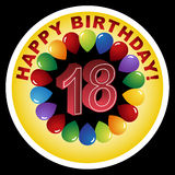 Happy Birthday Icon - Happy 18th. An image for a Happy 18th Birthday Stock Image