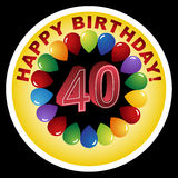 Happy Birthday Icon - Happy 40th. Over the Hill - Happy 40th Birthday royalty free illustration