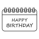 Happy birthday icon, outline style Stock Photo