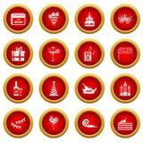 Happy Birthday icon red circle set Royalty Free Stock Image