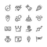 Happy birthday icon set. Royalty Free Stock Photos