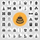 Happy birthday icon set. Stock Photo