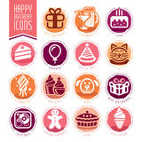 Happy Birthday Icon Set. Quality set of icons that can be used on birthday Stock Image