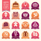 Happy Birthday Icon Set. Quality set of icons that can be used on birthday Stock Photos
