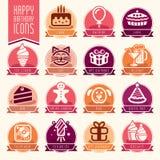 Happy Birthday Icon Set Stock Photos