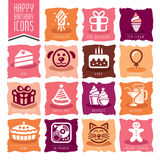 Happy Birthday Icon Set. Quality set of icons that can be used on birthday Stock Photography