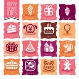 Happy Birthday Icon Set Stock Photography