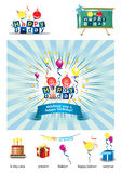 Happy Birthday icons. Set of  birthday icons, illustrating a celebration of  someone's birthday with different colored balloons and banner Royalty Free Stock Photos