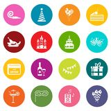 Happy Birthday icons many colors set Royalty Free Stock Images