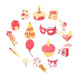Happy birthday icons set, cartoon style. Happy birthday icons set. Cartoon illustration of 16 happy birthday vector icons for web Royalty Free Stock Photography