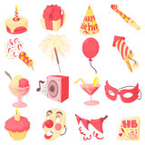 Happy birthday icons set, cartoon style Stock Photo