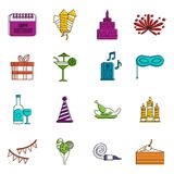 Happy Birthday icons doodle set. Happy Birthday icons set. Doodle illustration of vector icons isolated on white background for any web design Royalty Free Stock Image