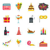 Happy Birthday icons set,flat style. Happy Birthday icons set in flat style. Party and celebration elements set collection vector illustration Stock Photography