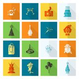 Happy Birthday Icons Set. Simple, Minimalistic and Flat Style. Colorful. Long Shadow. Vector Royalty Free Stock Images